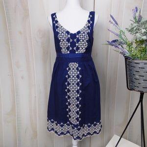 Edme & Esyllte Blue Embroidered A Line Dress